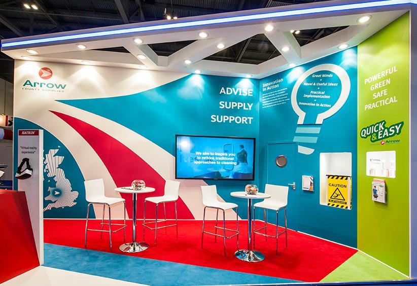 Exhibition Stand Shell Scheme : Arrow bright blue exhibition stand lighting stand out graphics